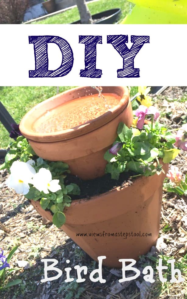 Find out how to use two clay pots to create this fun and simple bird bath!
