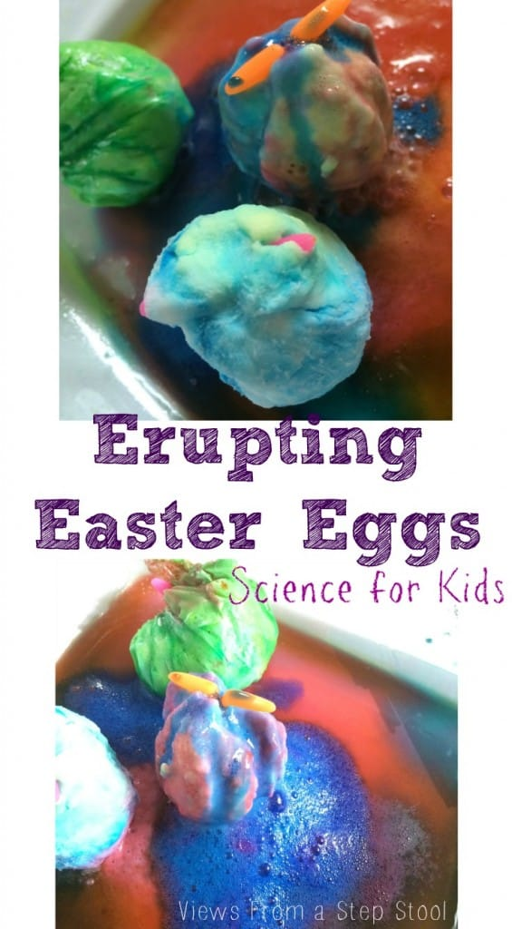 Make some baking soda eggs, hide a surprise inside, and let your kids make them erupt with some vinegar! They will want to make these erupting Easter eggs again and again!