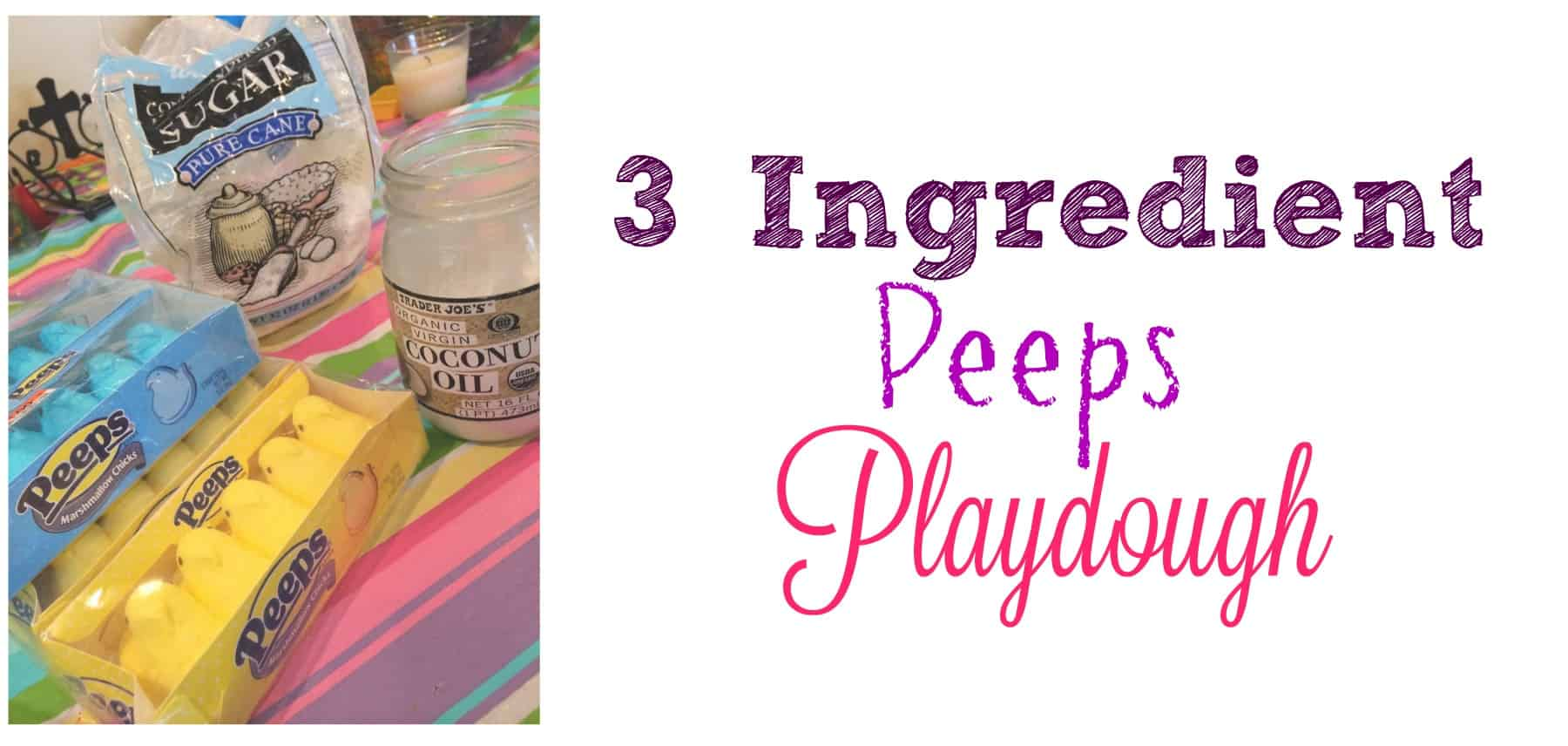 This simple Peeps playdough is made from only 3 ingredients! And its edible, this is perfect for kids who still like to put everything in their mouths.