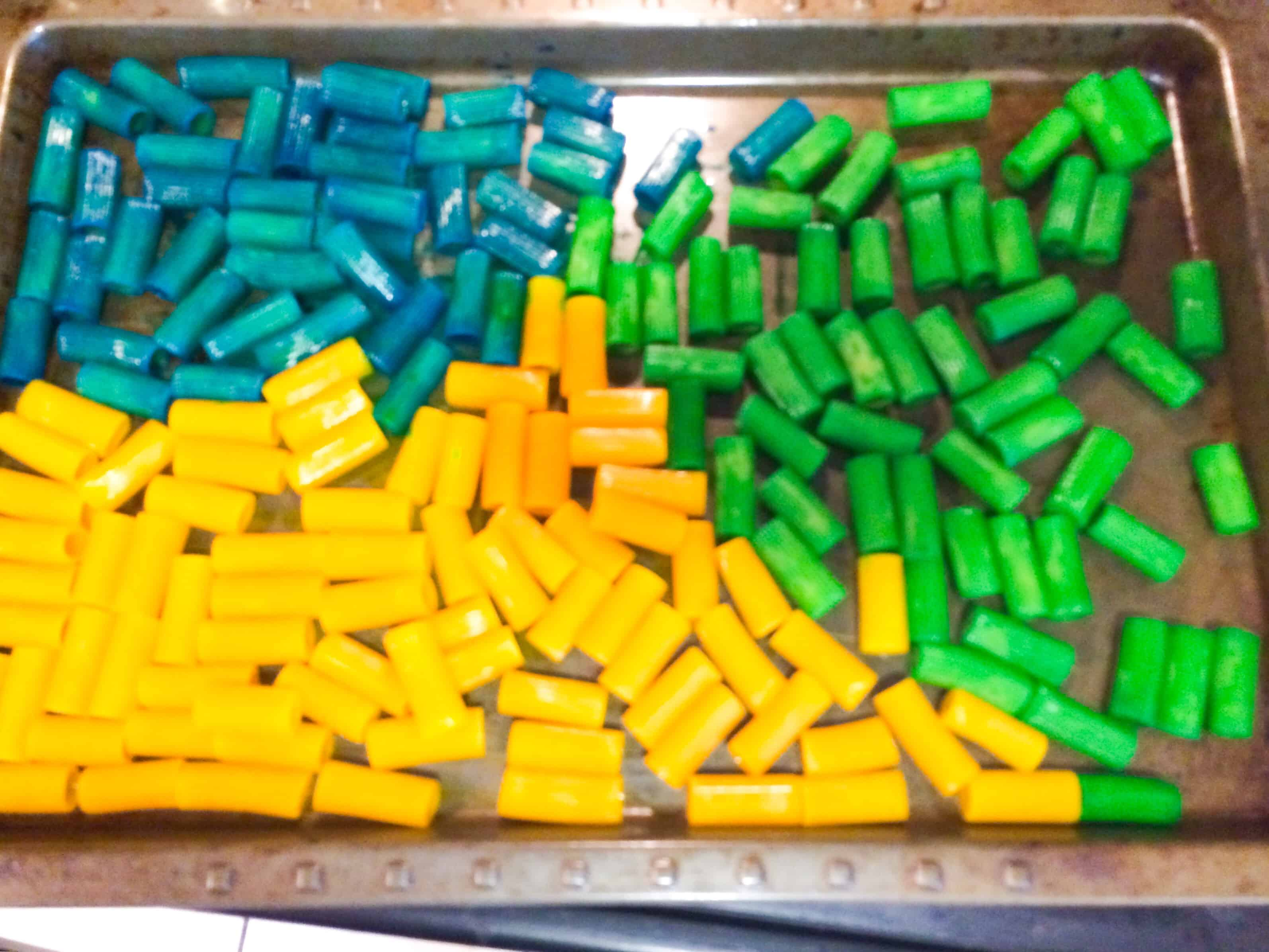Back to School Sensory Bin with Colored Pasta - Views From a Step Stool