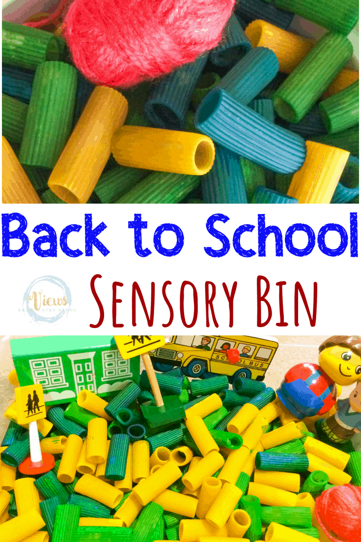 This school sensory bin uses colored pasta as a base and a wooden bus, school and people toys for kids to play with. A great way to prep for back to school. #sensoryplay #parenting #kidsactivities #sensory #spd #preschool #backtoschool