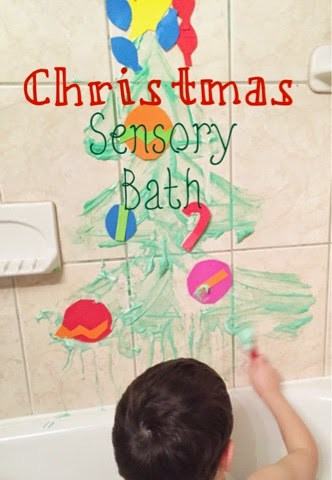 Christmas Sensory Bath with Homemade Bath Paint