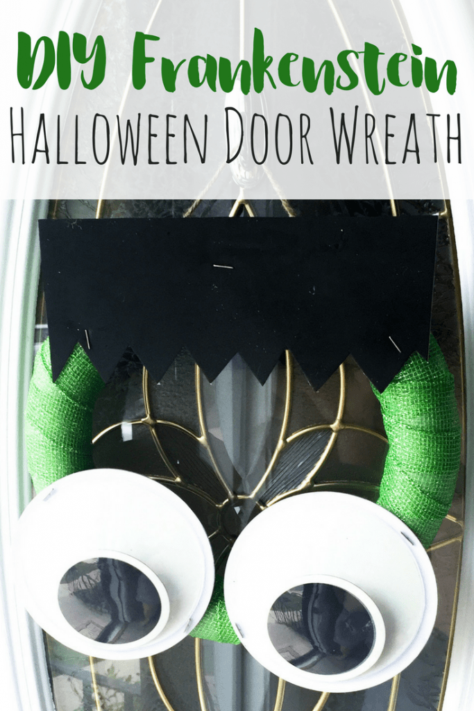 DIY Frankenstein halloween wreath pin