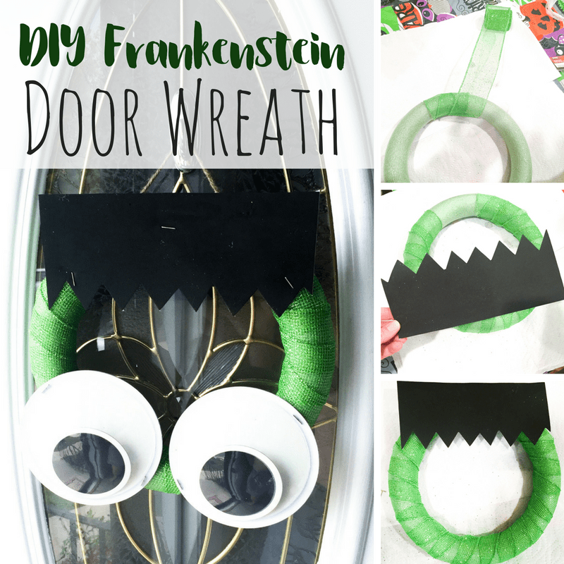 This non-spooky halloween wreath is perfect for some DIY halloween decor. With a FrFrankenstein-inspired look, kids are sure to love it as well!