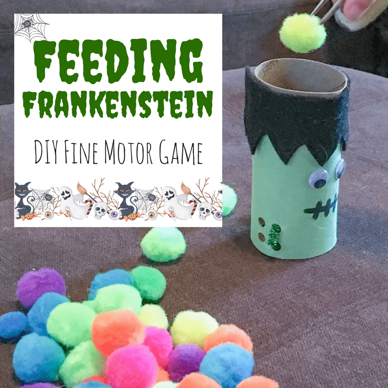 This simple upcycled Halloween Frankenstein craft is perfect for fine motor practice and serves as a great homemade game! Doubles as cute decor!