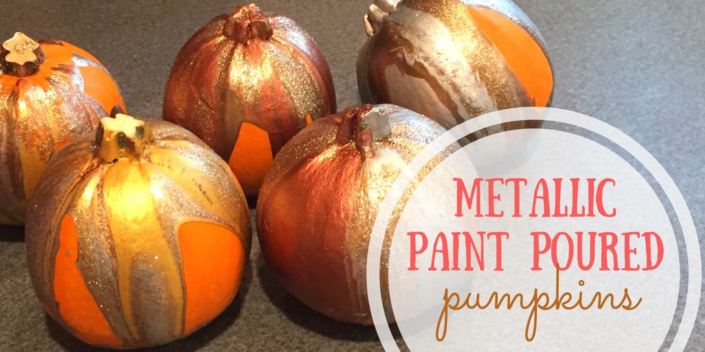 Metallic Paint Poured Pumpkins: Simple, DIY Fall Decor
