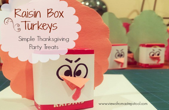By wrapping raisin boxes in construction paper, you can make cute and healthy Thanksgiving turkeys! Perfect for school parties.