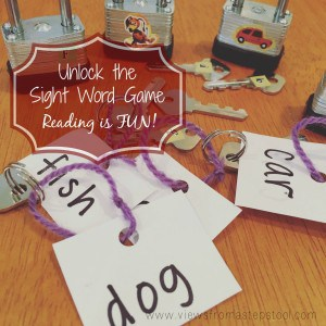 This simple sight word game uses locks and keys to practice reading and learning new words through play. Fine motor skills and process of elimination too!