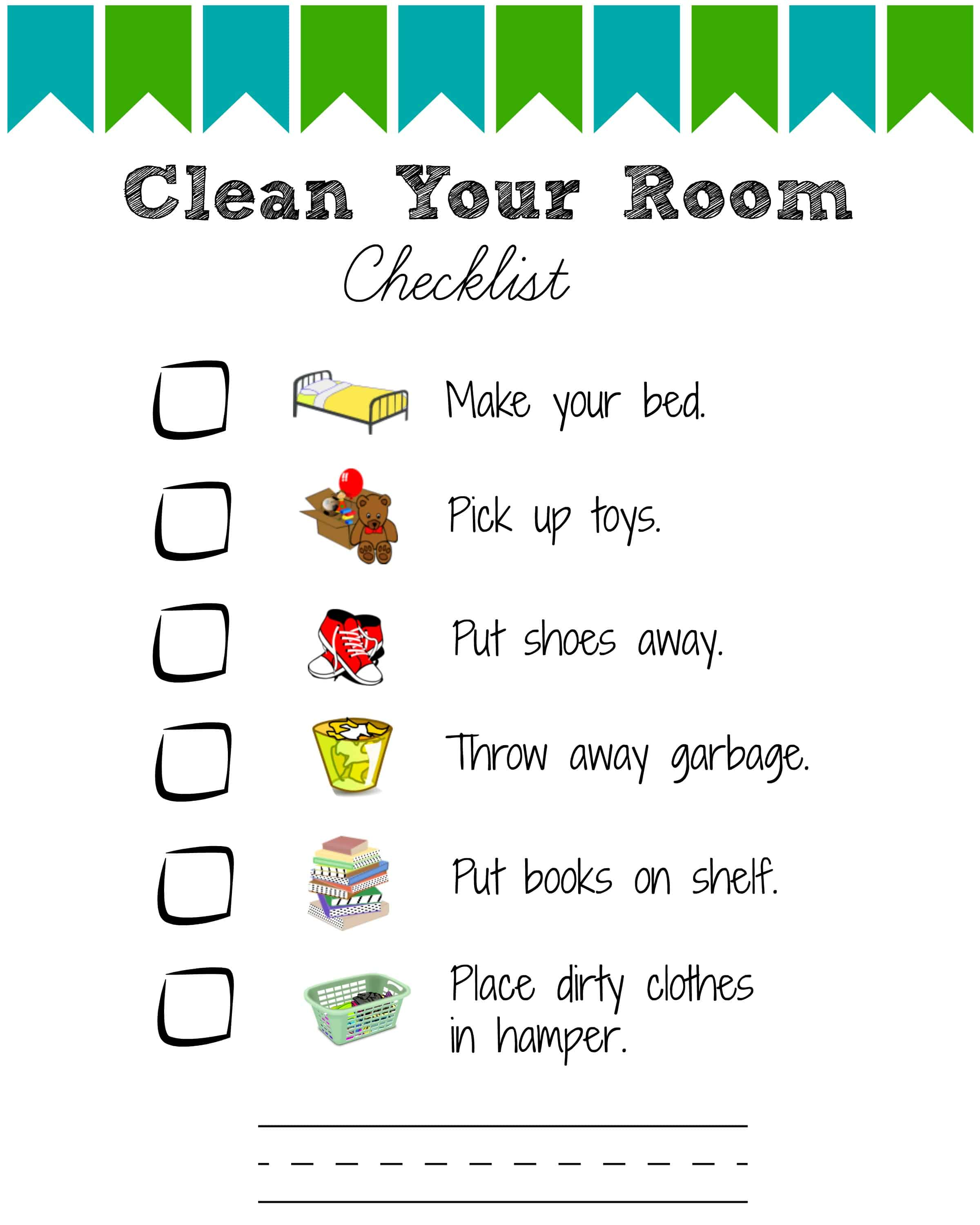 Printable Room Cleaning Checklists for Kids - Views From a Step Stool