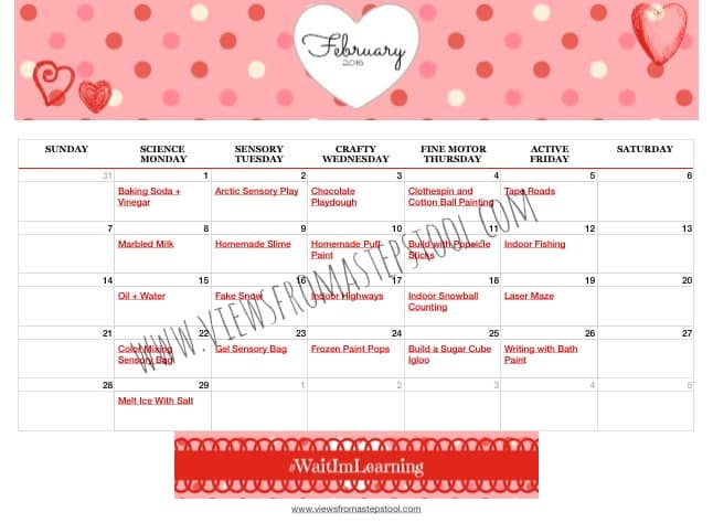 February Calendar of Activities for Toddlers and Preschoolers