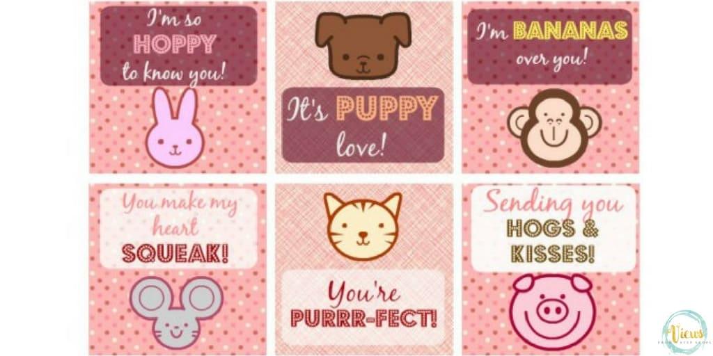 Printable Animal Valentineu0027s Day Cards