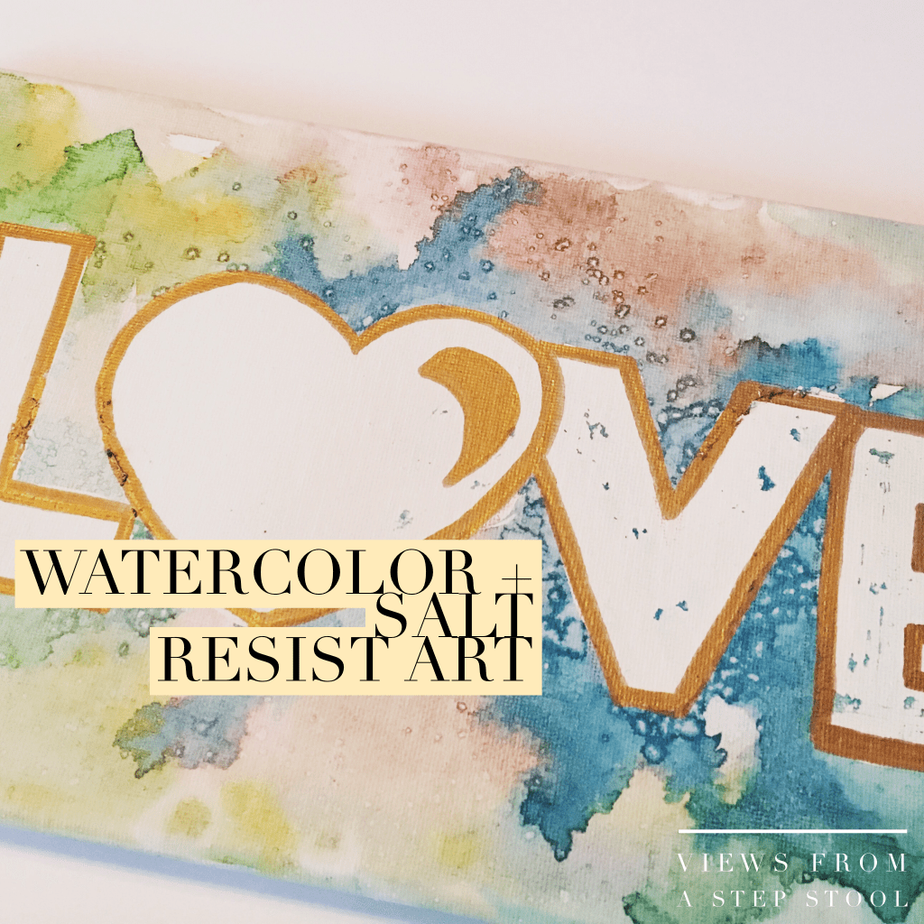 Use rubber cement to make a resist art design on a canvas. Paint with watercolors and sprinkle coarse salt on it when wet to create this BEAUTIFUL artwork