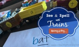 See & Spell with Toy Train Cars