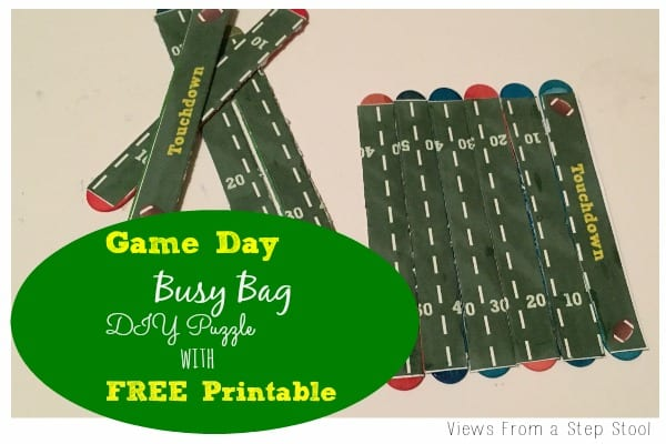 Game Day Busy Bag DIY Football Field Puzzle with FREE Printable