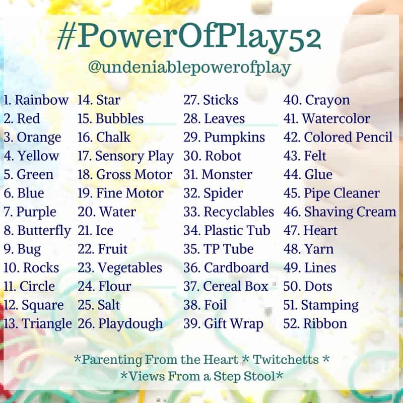 Join the 52 week play challenge on IG and FB with the #PowerofPlay52. Play-based learning is simple, keep your kids busy and learning with these prompts!