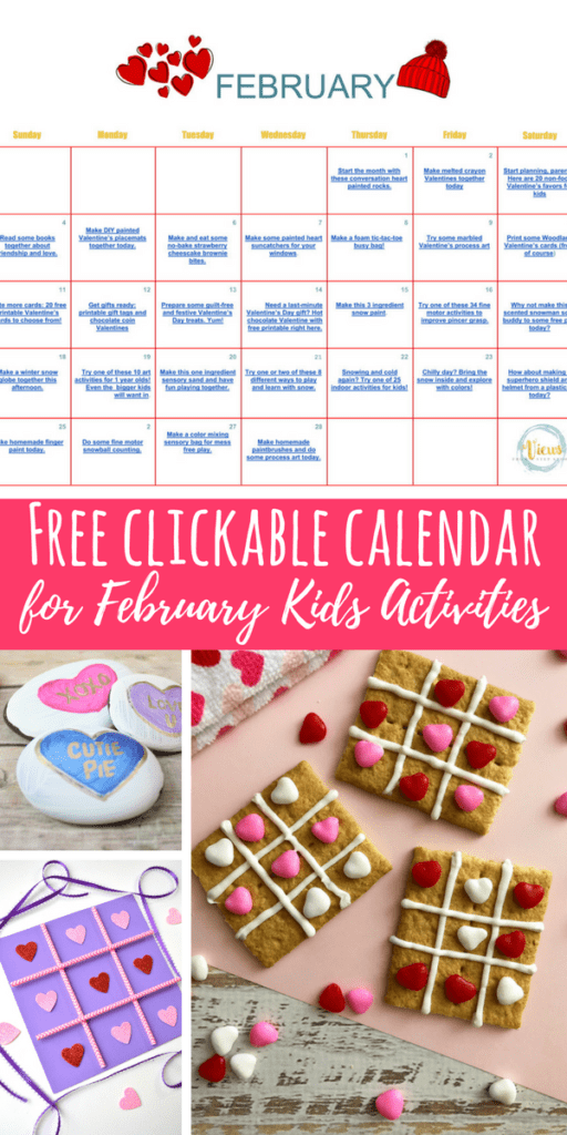 February kids activities in a clickable calendar. Download and save for free and keep your kids busy and learning all month long.