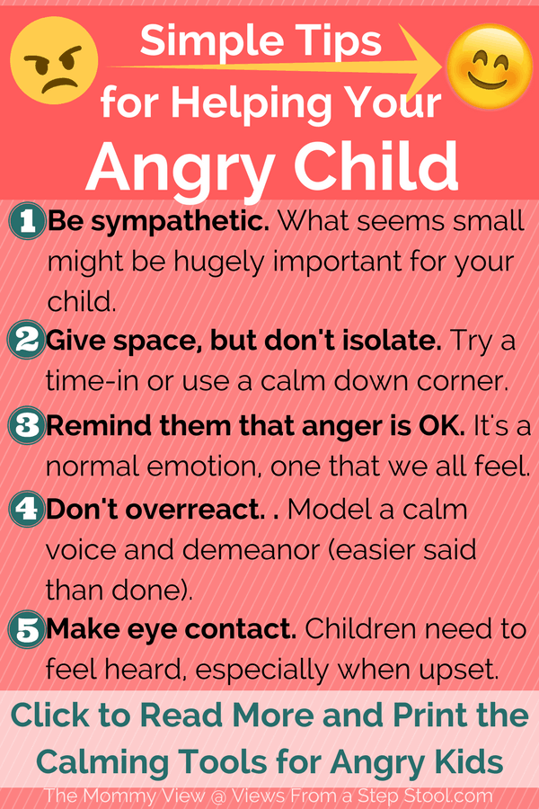 Here are some tips for gently helping your angry child calm down. Plus, 8 tools they can use to calm down anywhere. Grab a printable reminder. #positiveparenting #calmdown #angrychild #calmingtools #attachmentparenting #gentleparenting