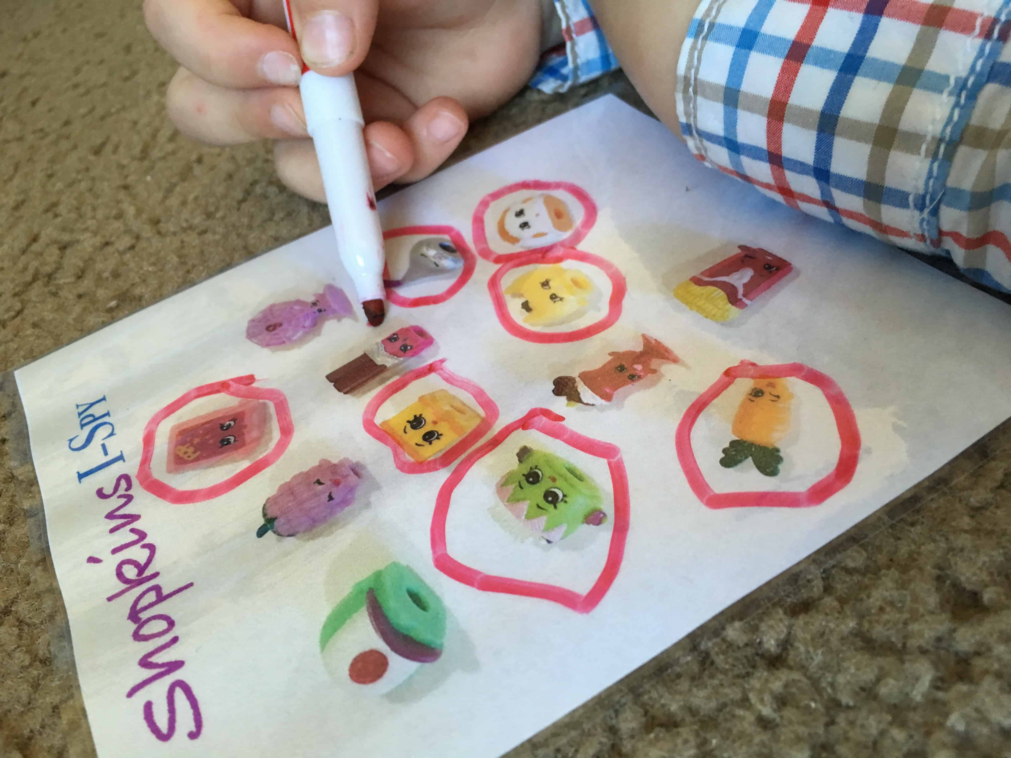 This Shopkins I Spy bag will keep all of the surprise egg lovers SUPER happy! A great sensory, and fine motor tool that will keep the kids BUSY.