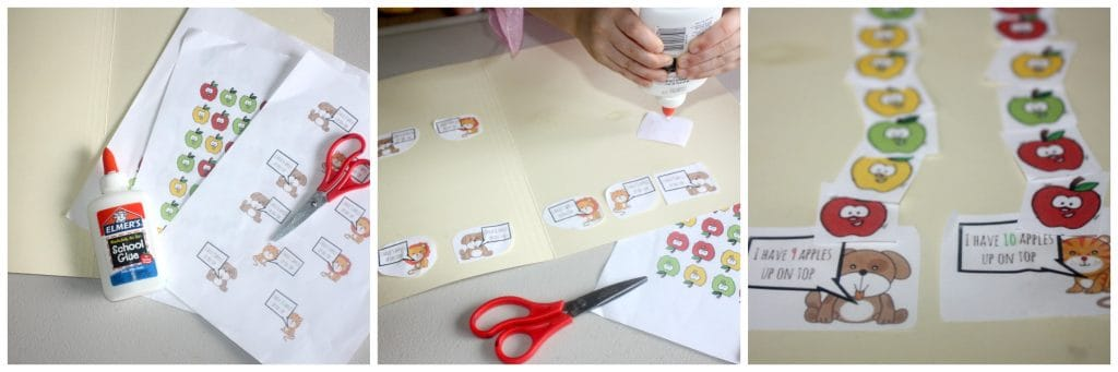 Ten Apples Up on Top is a classic Dr. Seuss kids' book. This ten apples up on top file folder game for kids is the great way to combine learning with books. Use the free printable game to practice counting and reading with you kids. BONUS: throw it in your bag to take with you on the go!