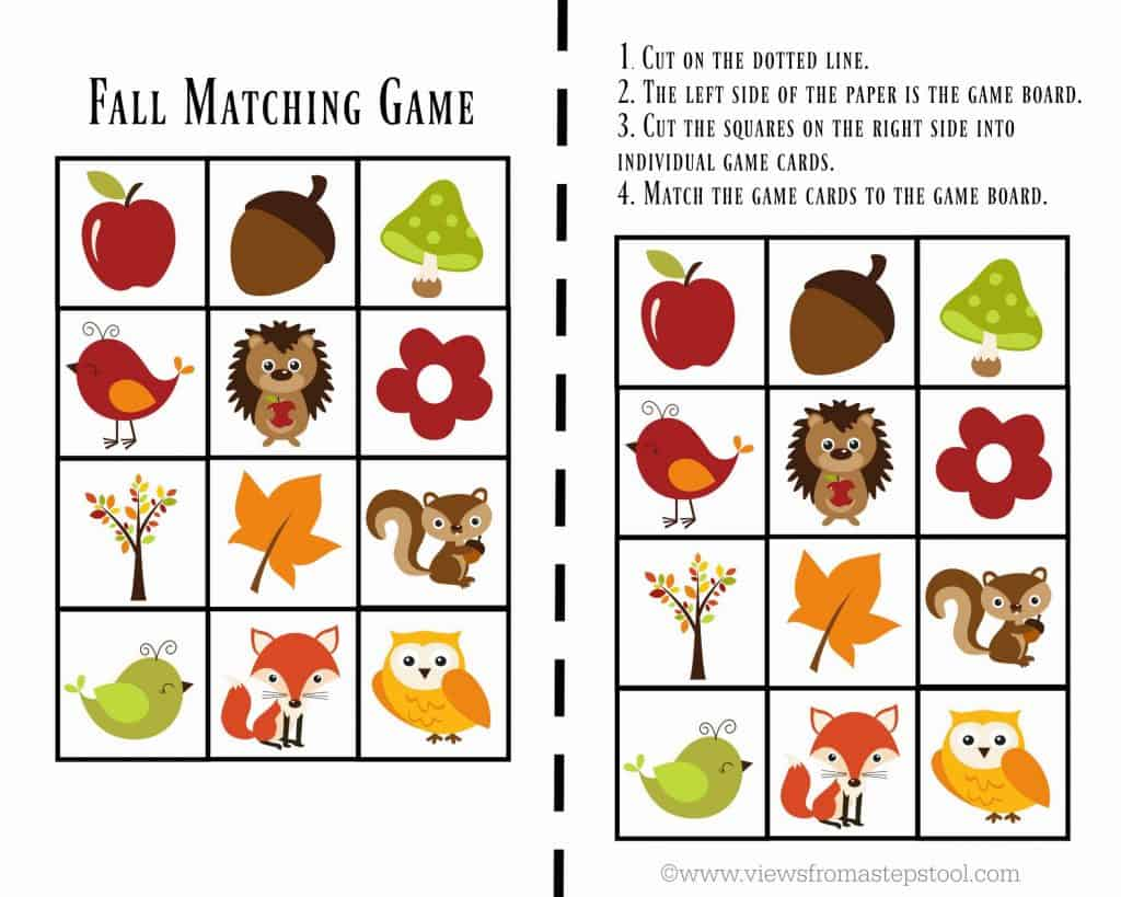 Printable Fall Games For Toddlers Views From A Step Stool
