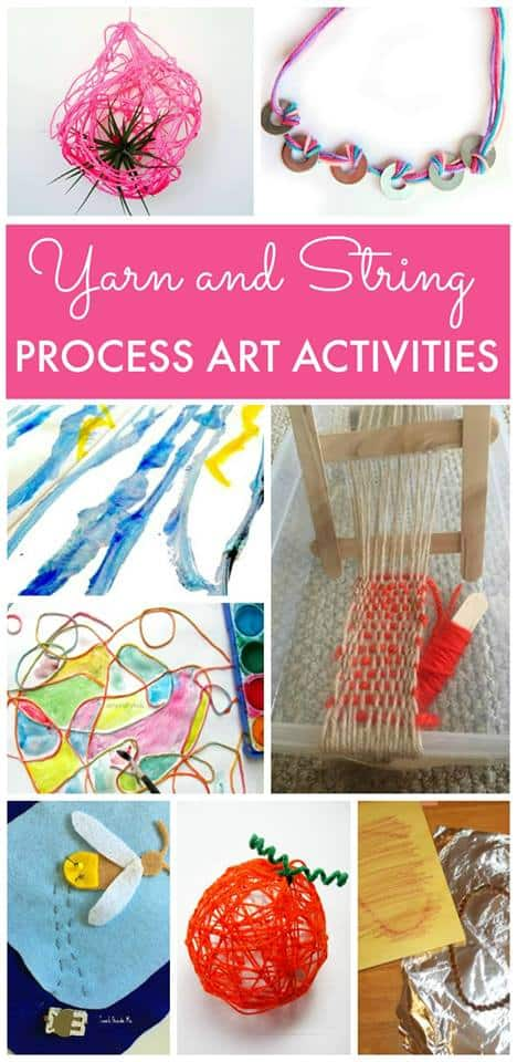 What fun ways to use yarn! My kids would love to do any of these! Check back monthly for more fun process art.