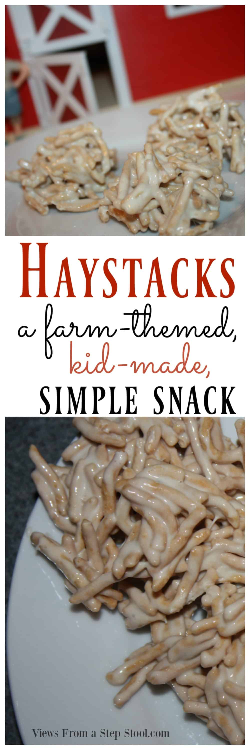 These adorable haystacks are the perfect farm themed snack for kids! Perfect for an activity with the book 'Little Blue Truck'.