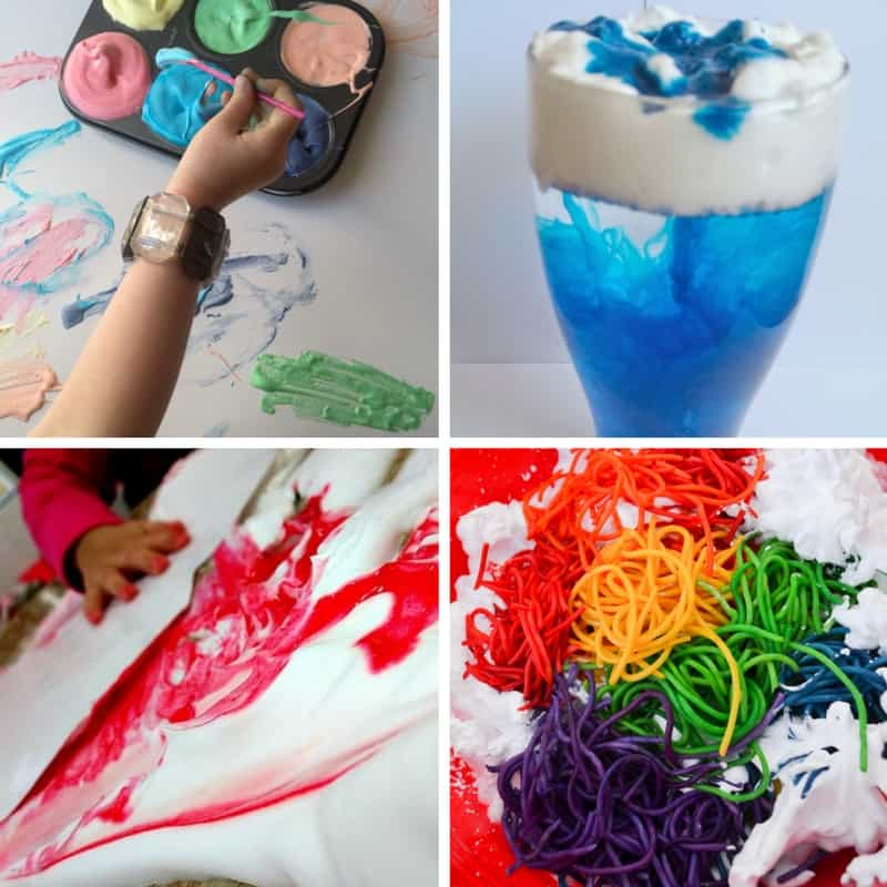 Shaving cream is such a fun medium for kids! From science, sensory and even art, these shaving cream simple setups will provide tons of play-based learning!