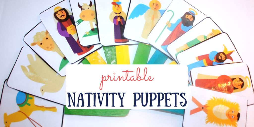Nativity Puppets for Dramatic Play with Free Printable