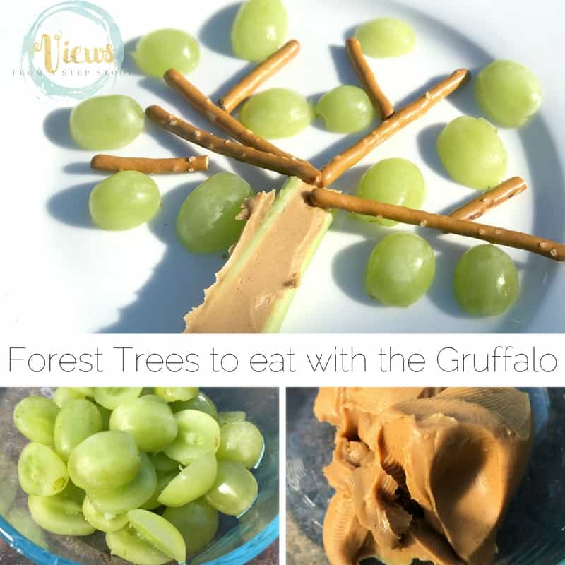 This healthy forest tree snack is perfect for kids to make after reading the book, The Gruffalo. They can make their own interpretation of the snack!