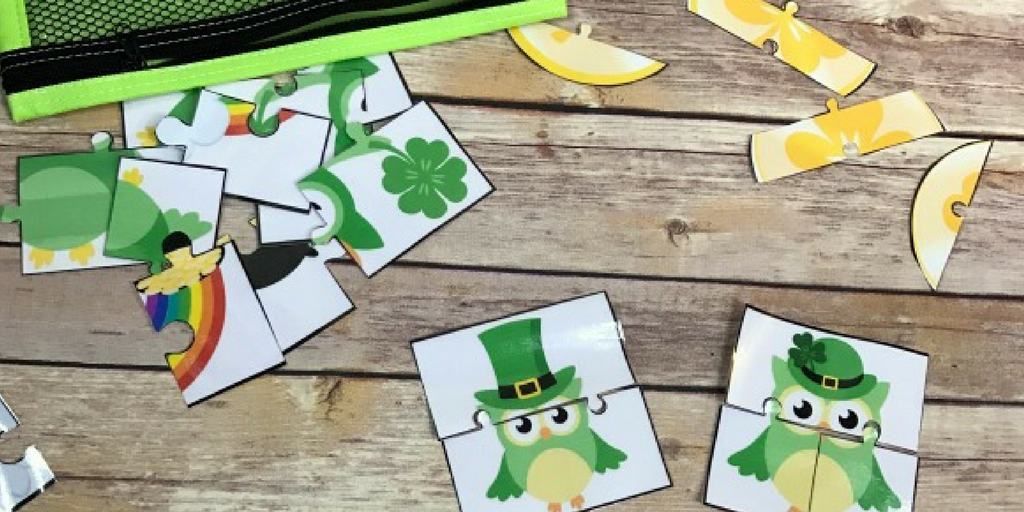 Owl Puzzle Cards for a St. Patrick's Day Busy Bag