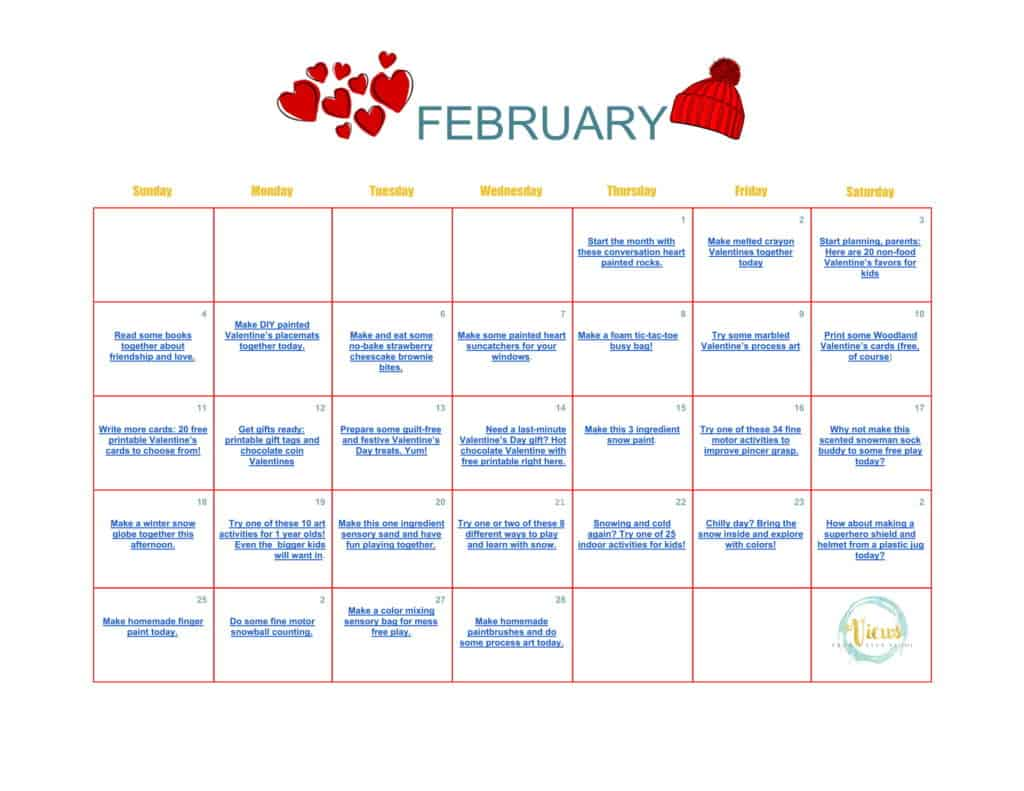 February calendar of activities for toddlers and for Preschool crafts for february