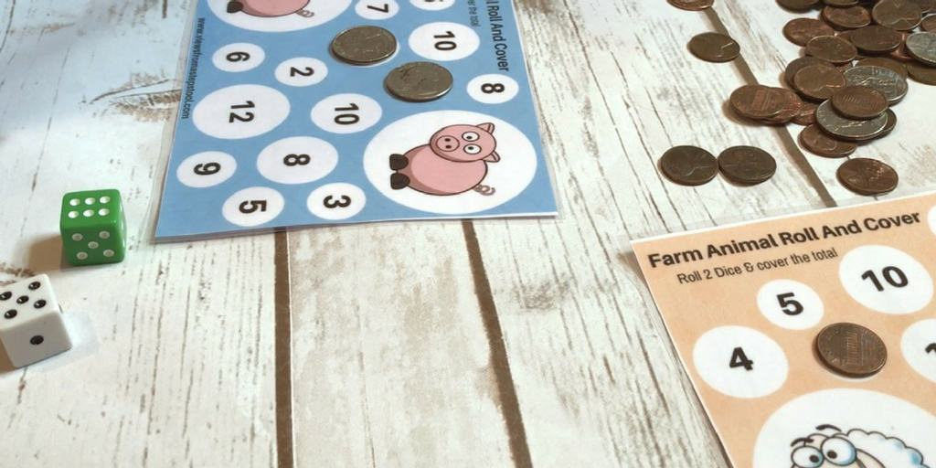 Farm Animal Printable Dice Games: A Roll, Count and Cover Math Game!