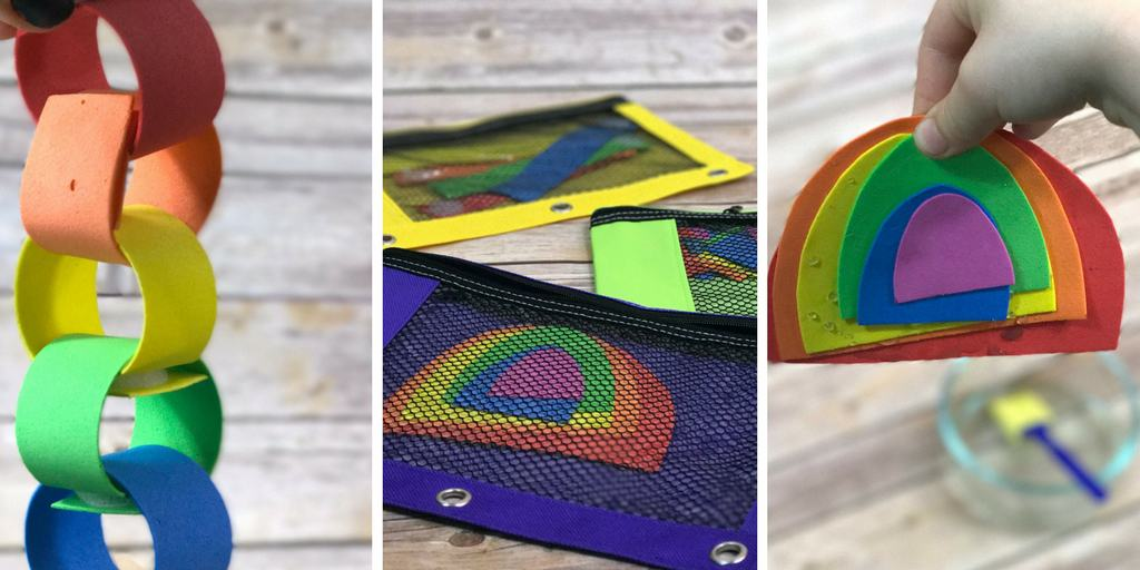 3 Rainbow Busy Bags Made from Dollar Tree Foam Sheets