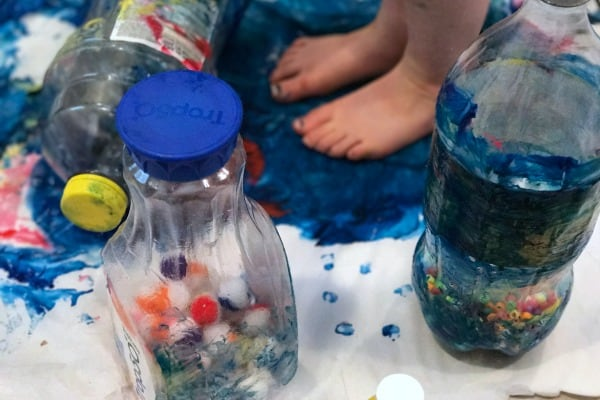 Sensory Process Art with Recycled Materials and Weight