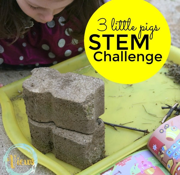 Do a 3 Little Pigs STEM challenge! Build houses out of straw, sticks and stone, then huff and puff and blow them down!