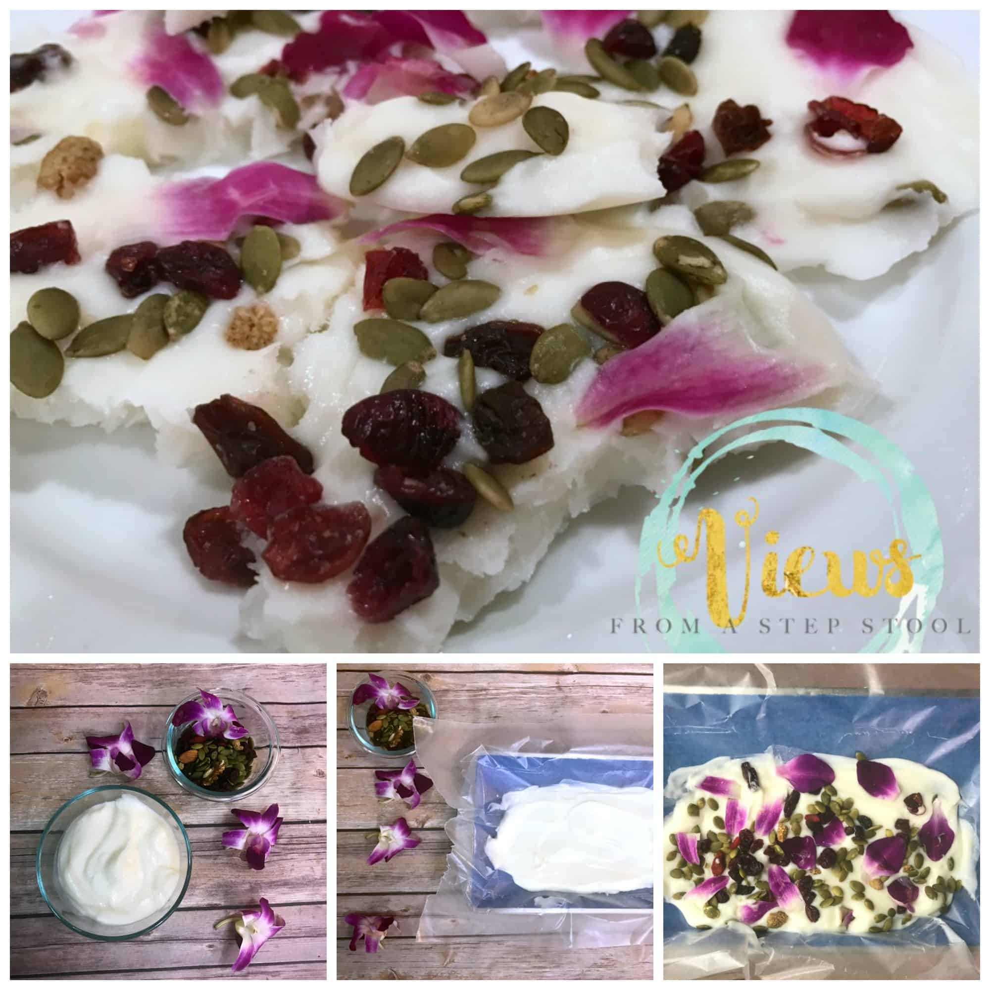 My kids LOVED making this edible flower bark! Not only was it tasty (and healthy), but there are so many fine motor and math skills to work on with kids in the kitchen!