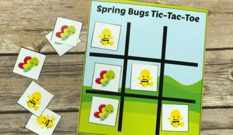 Spring Bugs Tic Tac Toe Printable Game and Busy Bag
