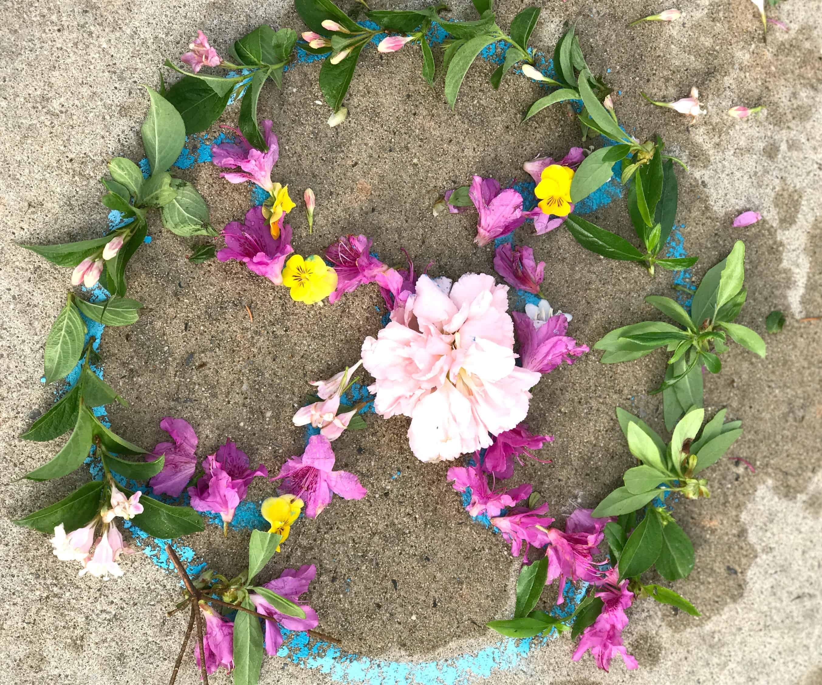 Flower Mandala Outdoor Process Art for Kids Views From a Step Stool