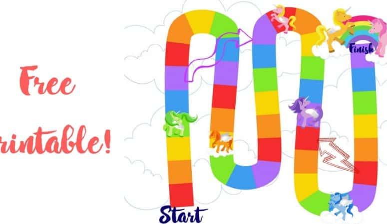 Rainbow Unicorn Printable Board Game for Preschoolers