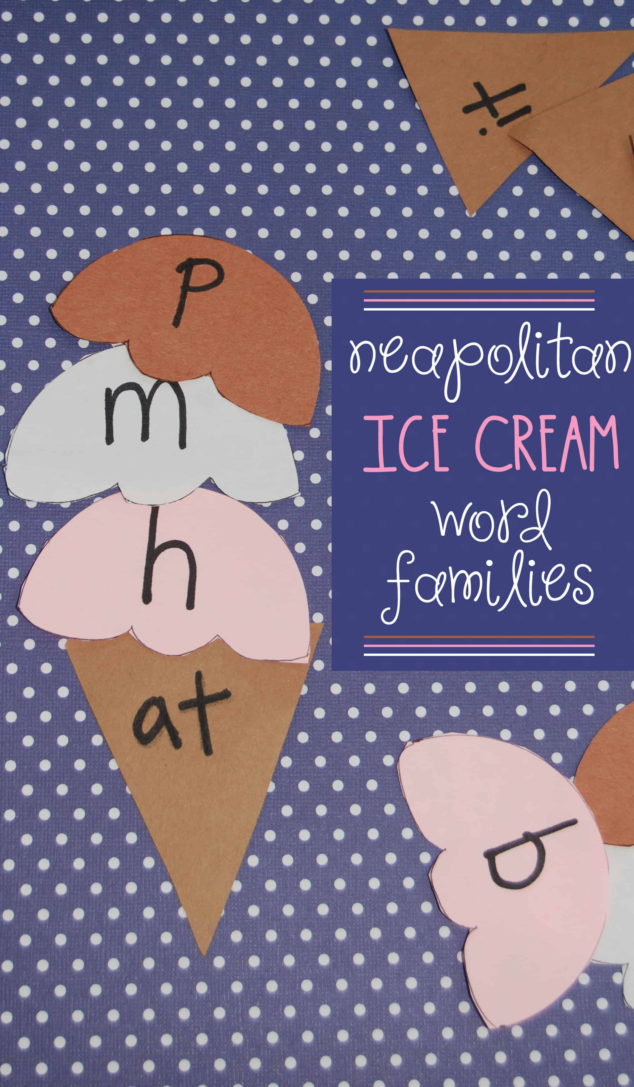 This ice cream craft creates word family games, perfect for big kids to practice word building and reading. Make it a busy bag for big kids on the go!