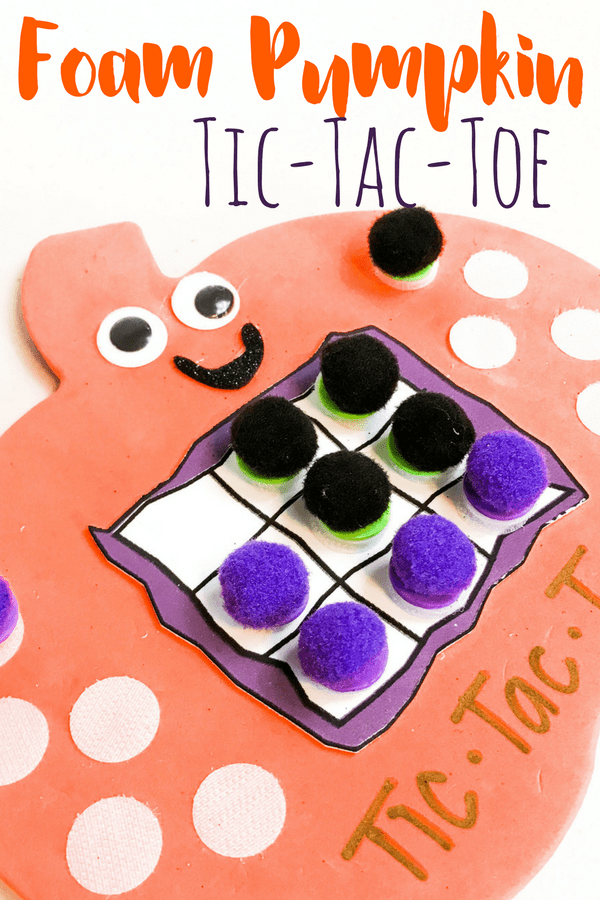 This foam pumpkin tic-tac-toe game is simple to make, and excellent for taking on the go. What a fun DIY game for kids that doubles as a busy bag!