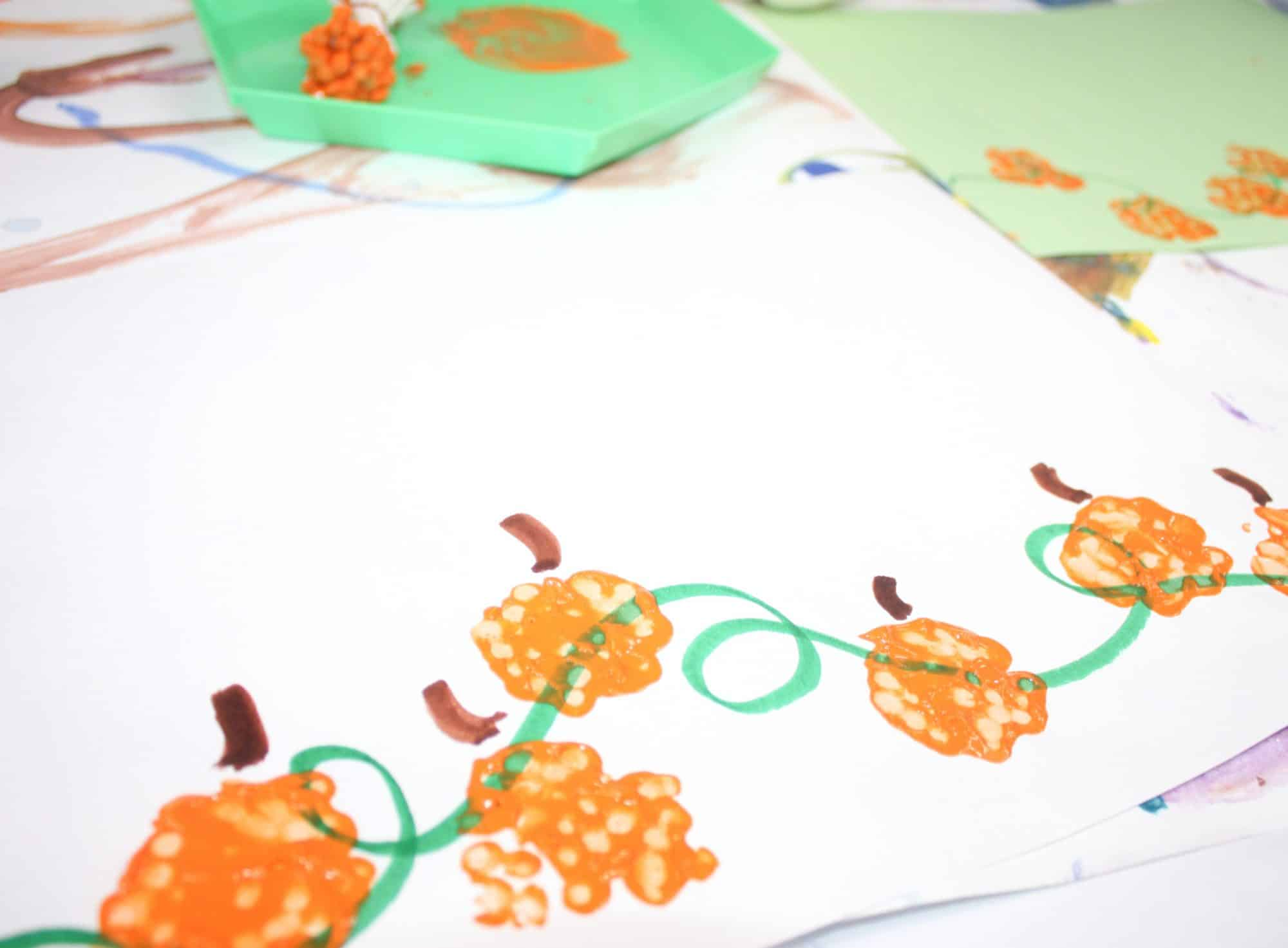 Fall Q Tip Painting Pumpkin Art for Toddlers