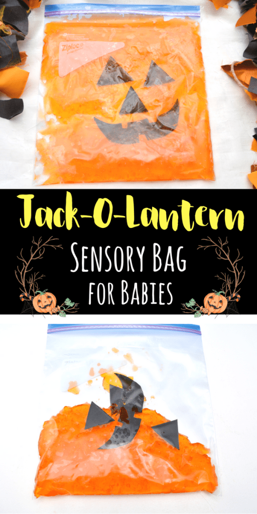 This jack-o-lantern sensory bag for babies is the perfect way to engage young kids in sensory play for Halloween and the Fall.