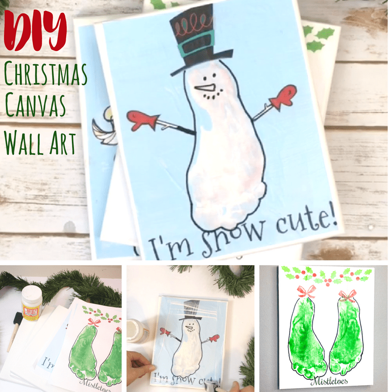 This Christmas canvas art is a DIY that kids can make with you, and enjoy! A sensory experience plus some crafting that can be used as gifts or keepsakes!