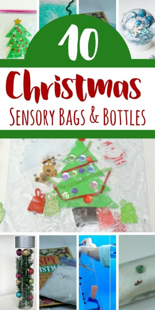 These Christmas sensory bottles and bags are amazing alternatives to sensory bins that are baby-safe and mess-free, all while being just as festive!