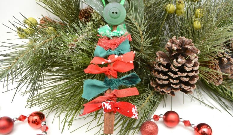 Cinnamon Stick and Fabric DIY Christmas Ornament