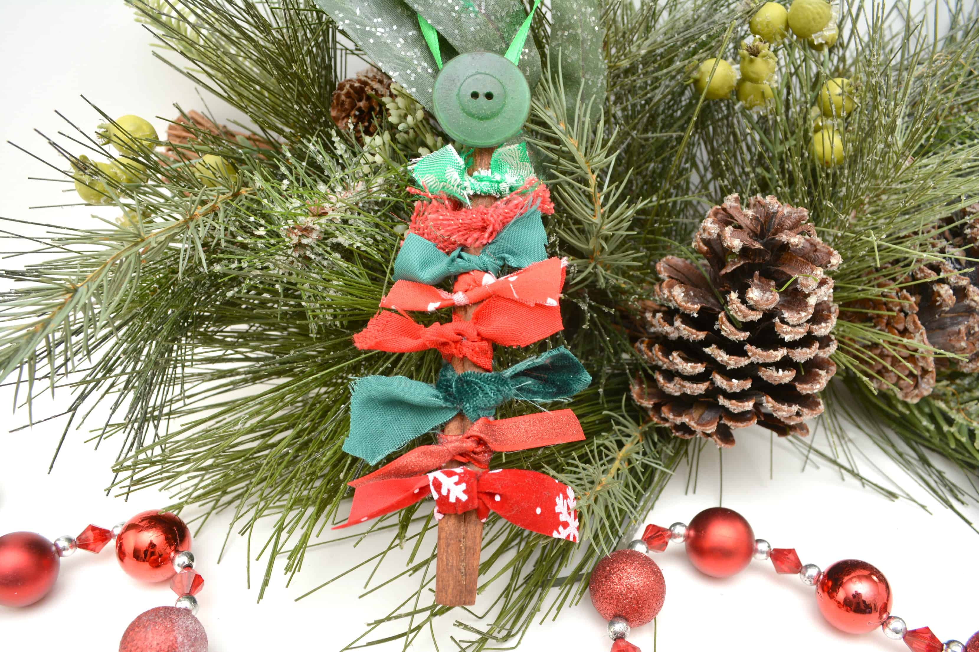 Cinnamon Stick and Fabric DIY Christmas Ornament Views From a Step