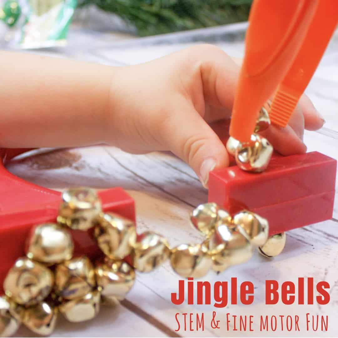 This jingle bells activity incorporates STEM learning and some fine motor practice through fun! Additionally, it provides kids with a nice sensory experience as well.
