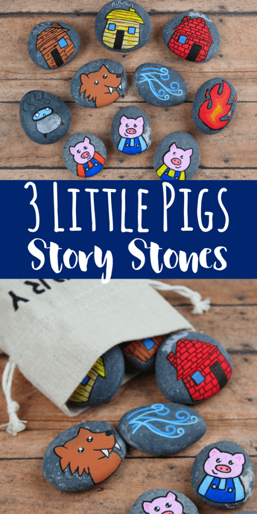 These 3 Little Pigs story stones are perfect for re-telling and reading comprehension. Using flat rocks and paint pens, these are simple to make!