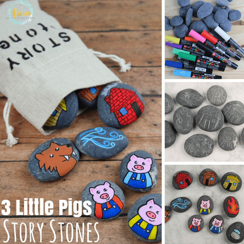 3 little pigs story stones square collage